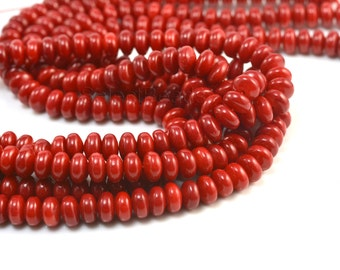 red coral, bamboo coral, 8x5mm abacus bead, rondelle bead, spacer bead, jewelry making bead, jewelry supply,  craft supply, gift supply,