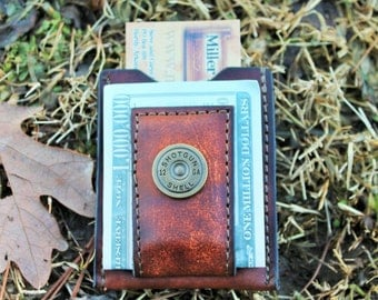 Magnetic Moneyclip Wallet with Pocket for Credit Cards in BROWN LEATHER--Shotgun Shell accent