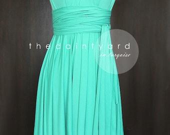 Short Straight Hem Turquoise Dress Bridesmaid Dress Convertible Dress Infinity Dress Multiway Dress Wrap Dress Wedding Dress Maid of Honor