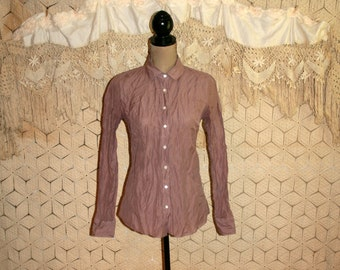 Womens Shirts XS Size 2 Blouse Dusty Purple Mauve Metallic Crinkle Long Sleeve Button Up Fitted Cotton Rayon Sparkly J Crew Womens Clothing