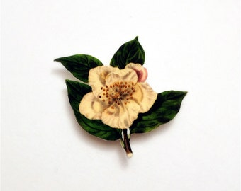 Flowering Japanese Cherry Blossom Magnetic Pin - Wearable Cherry Blossom Colour Illustration Brooch