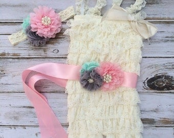 Ivory Lace Petti Romper 3 pc Set with Sash and Headband - Cake Smash, First Birthday, Photography Prop, Petti Romper