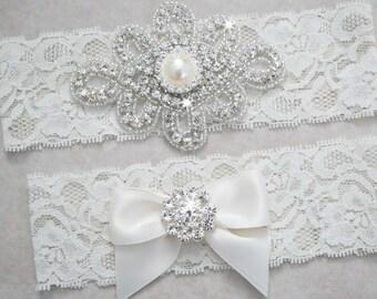 KATE Style A-Wedding Garter Set, Bridal Garter Set, White Lace Garter, Ivory Lace Garter, Rhinestone Garter