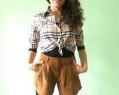 High Waisted Camel Brown Suede Leather Pleated Shorts, Genuine Leather Boho Chic Short Pants, Hippie Fashion Pleated Pants, Size Small S XS