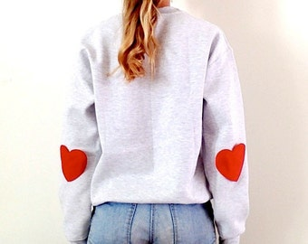 grey sweater red hearts elbow hipster sweater crew neck workout sweatshirt red happy sweaters. Black Bedroom Furniture Sets. Home Design Ideas
