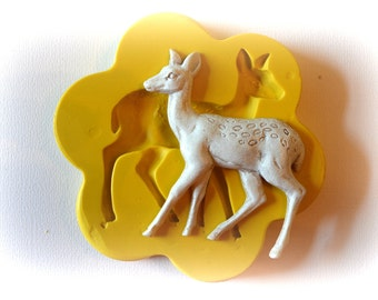 0375 Doe Deer Walking Silicone Rubber Flexible Food Safe Mold Mould- resin, clay, fondant, cake decor, cupcake decor, candy, chocolate