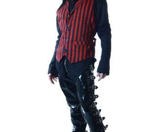 ALEX VEST Red and Black Stripes