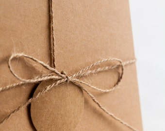 Rustic Brown Kraft Wedding Invitation Box - Square 15CM Size - Pack of 10