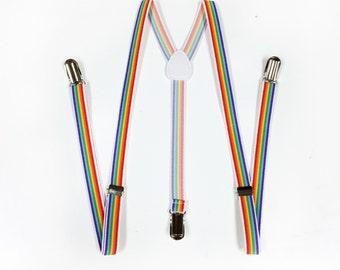 Mens suspenders, Rainbow Suspenders, mens suspender, boys suspenders, girls suspenders, Skinny Suspenders, Men's suspenders
