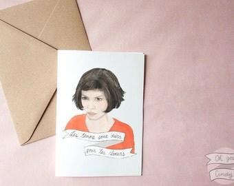 Amélie Poulain watercolour portrait illustration greeting card Audrey Tautou