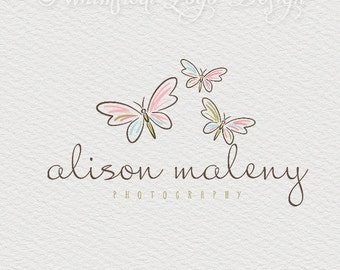 Butterfly logo design premade boutique logo photographer logo femine logo dreamy logo  hand drawn  logo Watermark .vintage logo design -