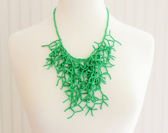 Green Seaweed Beaded Necklace