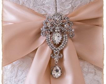 Art Deco Crystal Brooch For Bridal Sash, Bridal Sash Brooch, Wedding Brooch