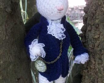Alice in Wonderland - Amigurumi Crochet White Rabbit  Doll MADE TO ORDER