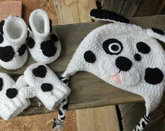 Baby Boy Baby Girl Fleece Lined Dalmation Hat Mitten and Booty Winter Great for Halloween Photo Prop