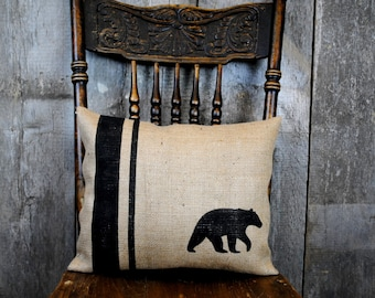 A classic rustic black bear pillow cover for your home decor! Cottage Country decor, Cottage chic pillow, decorative pillow, Burlap pillow.