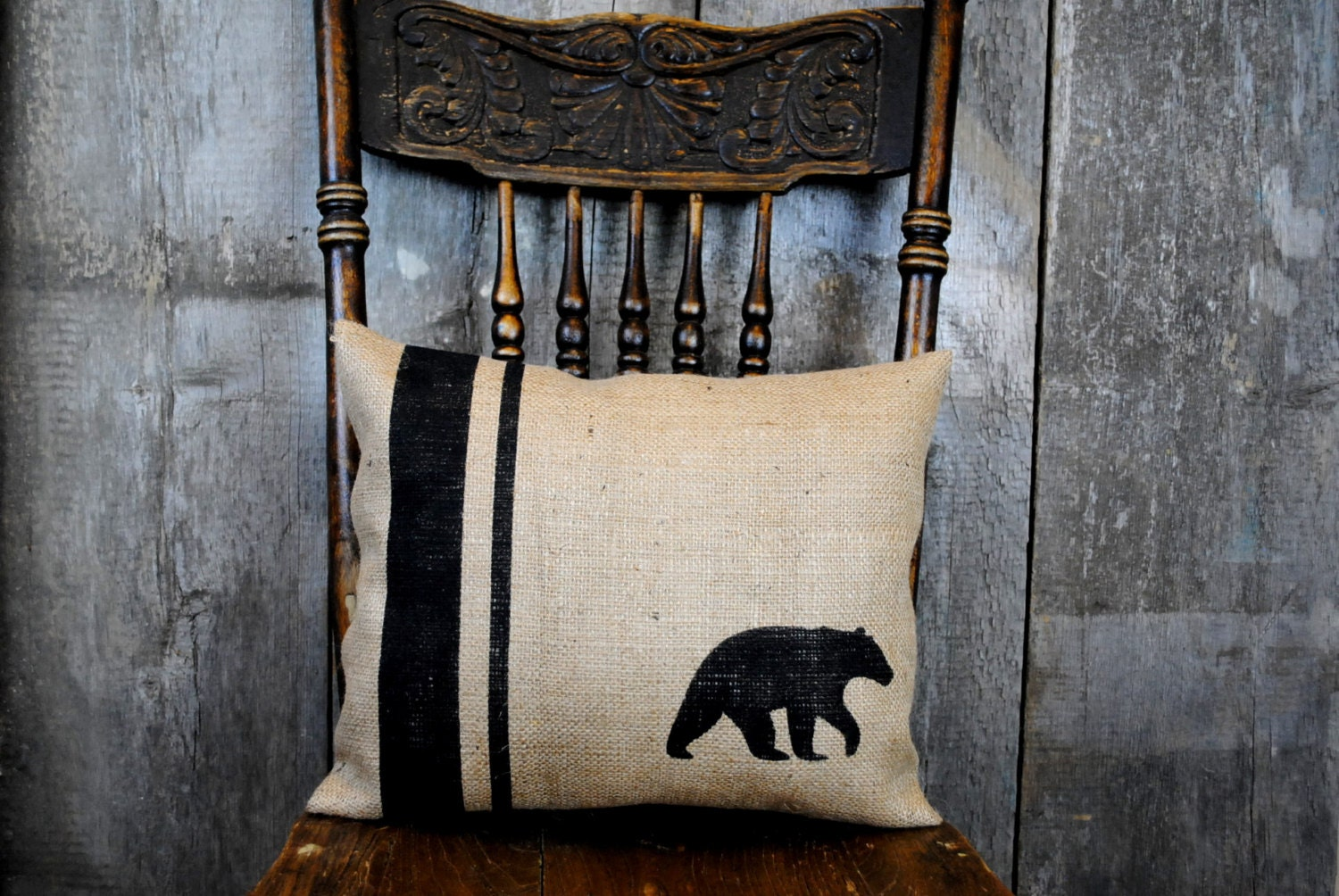 A classic rustic black bear pillow cover for your home decor for Rustic bear home decor