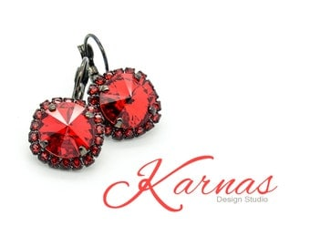 RED VIXEN 12mm Rivoli Crystal Halo Leverback Earrings Made With Swarovski Elements *Pick Your Finish *Karnas Design Studio™ *Free Shipping*