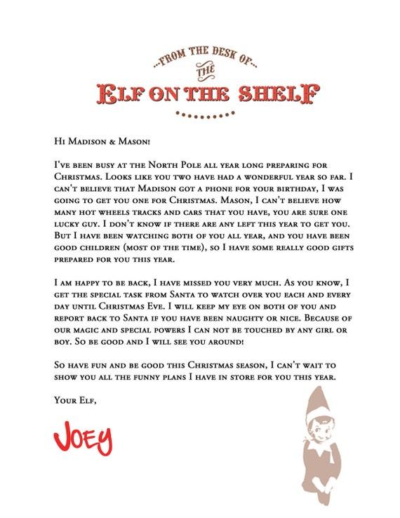 elf on the shelf letterhead