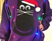 Light Up UGLY CHRISTMAS SWEATER - Christmas Cat!!!  (Also available in Hoodie and Kid's Sizes!)  _____**Fast Shipping**_____