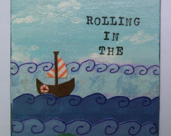 Rolling in the Deep Original 5x7 Mixed Media Artwork - Baby Nautical Decor
