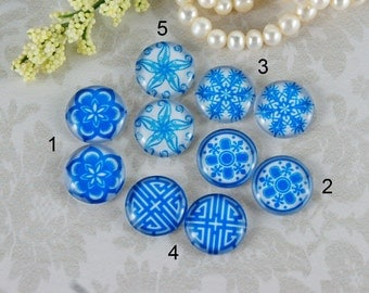 12mm,16mm,20mm Mix Blue and white pattern Handmade photo glass cabochon cabs 12G145