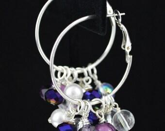 Purple Miracle Beads w/ White, Purple & Crystal Clusters on Silver Hoop Earrings