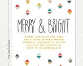merry & bright holiday party invitation, modern triangles geometric christmas party invite, hand lettering merry and bright holiday card 004