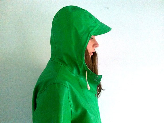 Vintage Bright Green Rain Slicker Waterproof Vinyl Coat Jacket