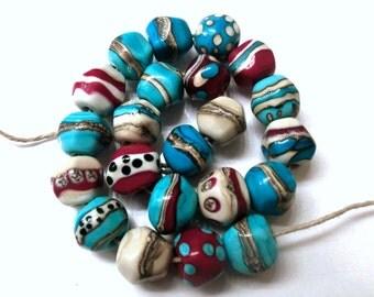 Set (22) Southwestern Lampwork Nugget Beads