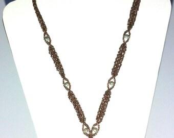 Rhodonite and pearl weave
