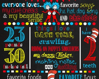 Dr Seuss Birthday Chalkboard Poster DIGITAL FILE