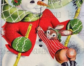 Retro Snowman Skiing Christmas Card #17 Digital Download
