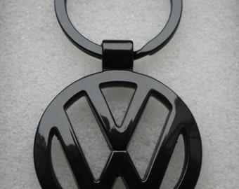 VW Volkswagen Gloss Black Logo Key Chain Ring Metal