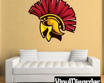 Trojan Mascot Wall Decal - Wall Fabric - Vinyl Decal - Removable and Reusable - MascotUScolor005ET