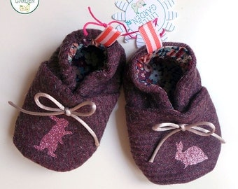 Purple wool rabbits or birds Baby Slippers