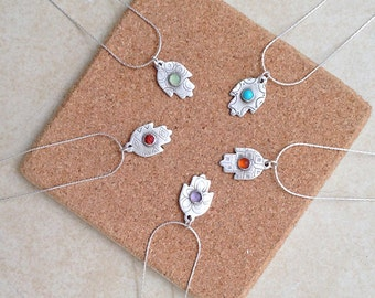Small Hamsa Pendant, Gemstones Hamsa, Hand made Fatima, protection jewel, Bat Mitzvah gift