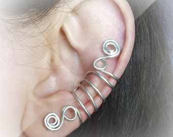Silver Ear Cuff Silver plated Ear Wrap