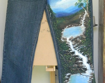 Waterfalls Hand Painted on Jeans Original One Only