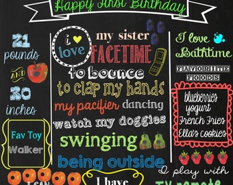 First Birthday Chalkboard -The very Hungry Caterpillar theme chalkboard- Baby's First Birthday chalkboard- 16x20 printable