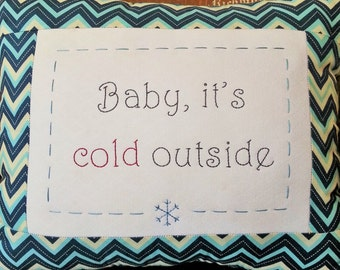 8x10 Winter hand embroidery pattern Baby, It's Cold Outside.