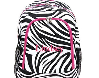 Personalized Girls Backpack / Great for back to school backpack personalized monogrammed pink and black zebra