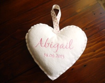 Personalised Hanging Love Heart - Pink
