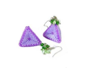 "Lilac beaded earrings ""Pyramid"" . Ready to ship. Beadweaving / Beading / Handmade / Beadwork jewelry."