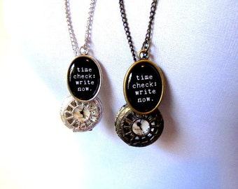 pocket watch with time check: write now. resin pendant necklace