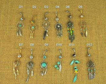 belly button jewelry Dream Catcher belly button ring bellybutton ring belly dance 14g