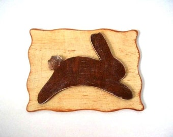 Kitchen magnet Rabbit frig magnet Wood magnet handmade country folk art