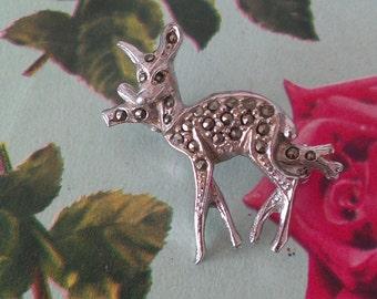 vintage marcasite bambi deer brooch kitsch cute 1940s