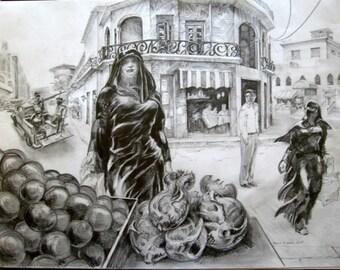 Iraq Woman at Vegetable Stand in Baghdad, Iraq