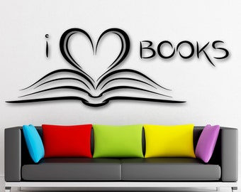 Vinyl Decal I Love Books Bookworm Library Literature School Reading Room Wall Sticker (ig2092)